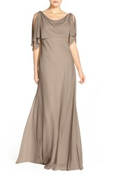 Women's Jenny Yoo 'Devon' Glitter Knit Gown With Detachable Capelet Taupe