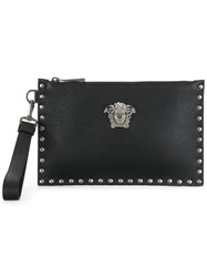 Versace Micro Studded Medusa Clutch Leather Black