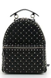 Valentino Garavani Rockstud Spike Quilted Leather Backpack Black