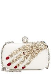 Alexander Mcqueen Embellished Leather Box Clutch White