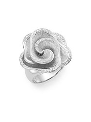 Effy 0.16 Diamond Pave And Sterling Silver Flower Ring