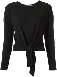 Giuliana Romanno Knot Detail Blouse Women Cotton Polyester M Black