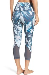 Zella Women's 'Hatha' High Waist Crop Leggings Blue Glacier Marble Ink Print