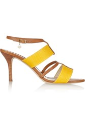 Oscar De La Renta Briani Two Tone Canvas And Leather Sandals Yellow