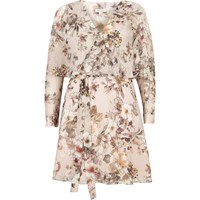 River Island Womens Cream Floral Wrap Cape Dress