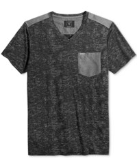 Guess Men's Central Burnout V Neck Pocket T Shirt Gunmetal Grey Multi