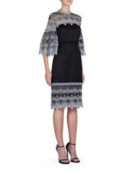 Erdem Kiya Embroidered Tulle Dress Pale Blue Black