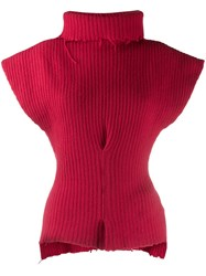 Unravel Project Distressed Sleeveless Sweater Red