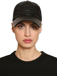 Juun.J Leather And Mesh Trucker Hat W Patch Black