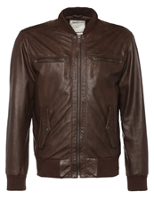 Pepe Jeans Jimmy Leather Jacket Brown