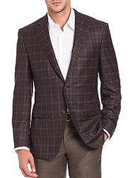 Saks Fifth Avenue Checked Wool Blazer Brown