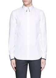 Alexander Mcqueen Lace Collar Underlay Cotton Poplin Shirt White
