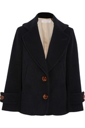 See By Chloe Single Breasted Wool Blend Peacoat Midnight Blue