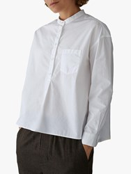 Toast Poplin Collarless Shirt Pure White