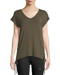 Dex Laced Side Short Sleeve V Neck Tee Khaki