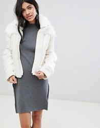 Deby Debo Upper Mixed Faux Fur Jacket Off White Cream