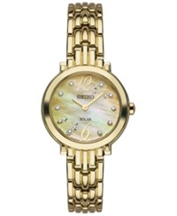 Seiko Women's Solar Tressia Diamond Accent Gold Tone Stainless Steel Bracelet Watch 23Mm Sup356 No Color