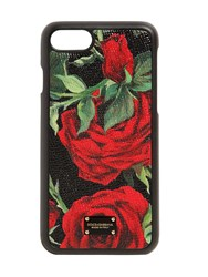 Dolce And Gabbana Rose Print Leather Iphone 8 Plus Cover Red Black