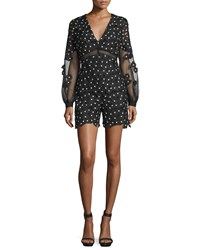 Self Portrait Daisy Dot Floral Lace Romper Black