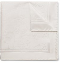 Berluti Scritto Mulberry Silk Jacquard Pocket Square White