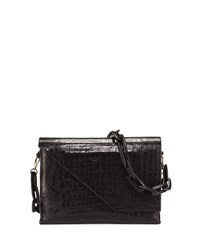 Nancy Gonzalez New Origami Crocodile Chain Shoulder Bag Black