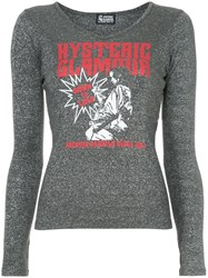 Hysteric Glamour Born To Loose V Neck Blouse Grey