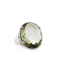 Lagos Silver Green Amethyst Ring With 18K Gold