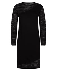 Jaeger Lace Knitted Panelled Dress Black