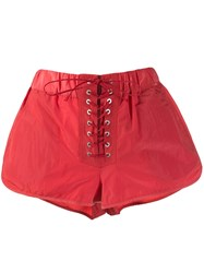 Unravel Project Lace Up Shorts Red