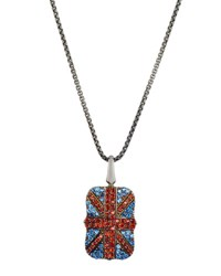 Stephen Webster Men's Pave Garnet Sapphire Union Jack Dog Tag Necklace Silver