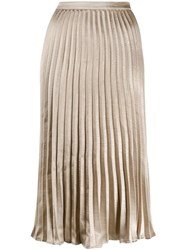 Dkny Pleated Midi Skirt Gold