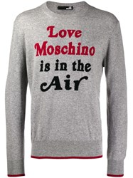 Love Moschino Quote Print Sweater Grey