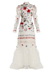 Erdem Scarlet Floral Embroidered Silk Organza Gown Red Multi