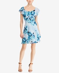 American Living Floral Print Fit And Flare Dress Blue Multi