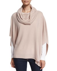 Neiman Marcus Cashmere Collection Cowl Neck Cashmere Poncho Quartz