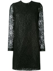 Msgm Lace Long Sleeve Mini Dress Women Polyamide Viscose 44 Black