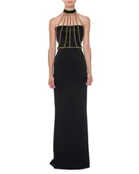 Moschino Chain Halter Neck Bustier Gown Black