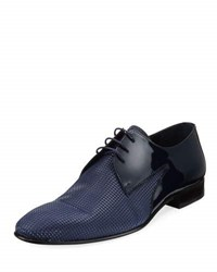 Jared Lang Patent Pyramid Studded Oxford Dress Shoe Blue