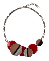 Jaeger Layered Circle Resin Necklace Red