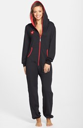 Women's California Creative Republic 'Classic' French Terry Hooded Jumpsuit Black Red