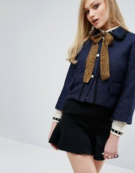 Sister Jane Cropped Jacket With Leopard Chiffon Bow Navy