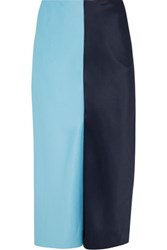 Jonathan Saunders Carine Two Tone Brushed Satin Midi Skirt Navy
