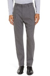 Zachary Prell Men's Rushmore Pinstripe Stretch Wool Blend Trousers Grey