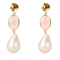 Latelita London Hydra Baroque Pearl And Rose Quartz Earring Gold Gold Pink Purple
