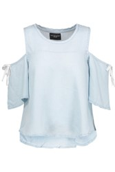 W118 By Walter Baker Sadie Cold Shoulder Washed Crepe De Chine Top Sky Blue