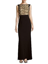 Theia Embroidered Sleeveless Gown Black Gold
