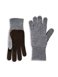 Brunello Cucinelli Perforated Cashmere And Suede Gloves Grey
