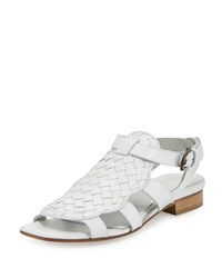 Sesto Meucci Gala Woven Leather Flat Sandal White Women's