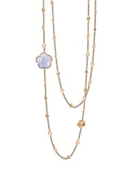 Pasquale Bruni 18K Rose Gold Bon Ton Floral Blue Chalcedony And Diamond Necklace 40 Blue Rose Gold