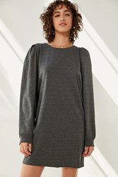 Silence And Noise Rachel Shirred Long Sleeve T Shirt Dress Dark Grey